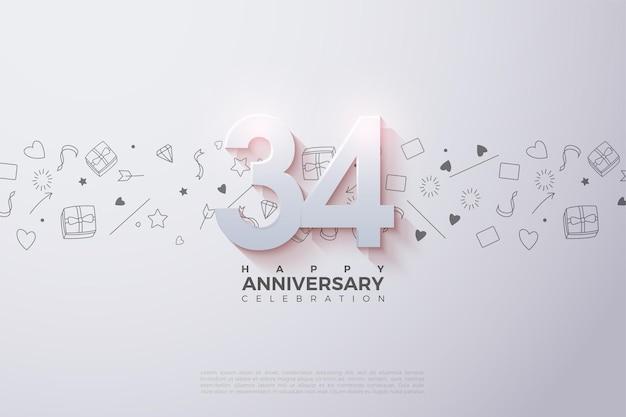 34e anniversaire avec illustration de la figure 3d