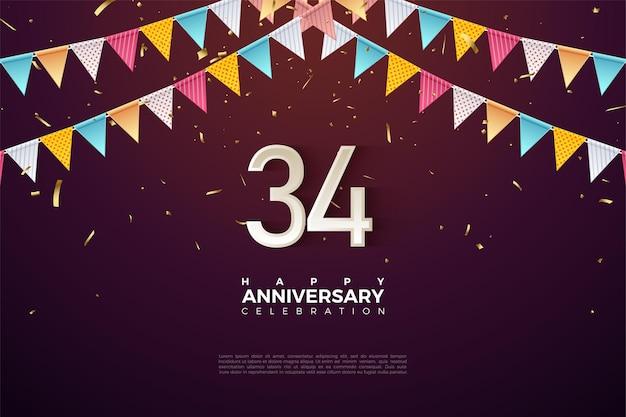 34e anniversaire avec illustration de nombres sous des drapeaux colorés