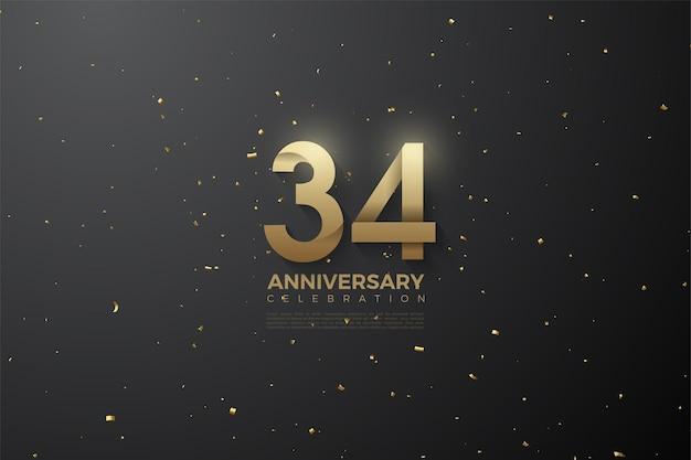 34e anniversaire avec des numéros à motifs