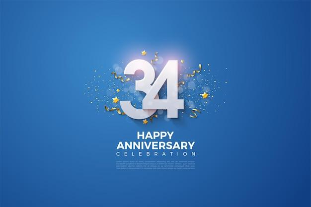 34e anniversaire avec des numéros qui se chevauchent