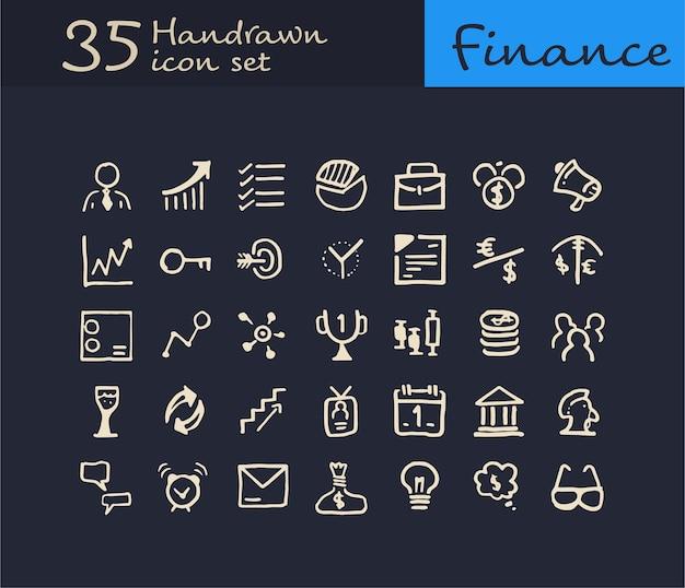 35 icône financière dessinée à la main. icône de finance doodle