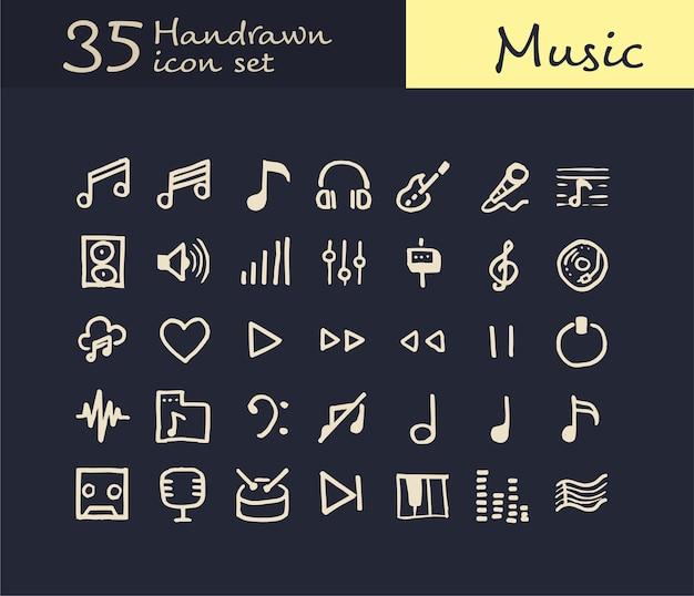 35 icône de musique dessinée à la main
