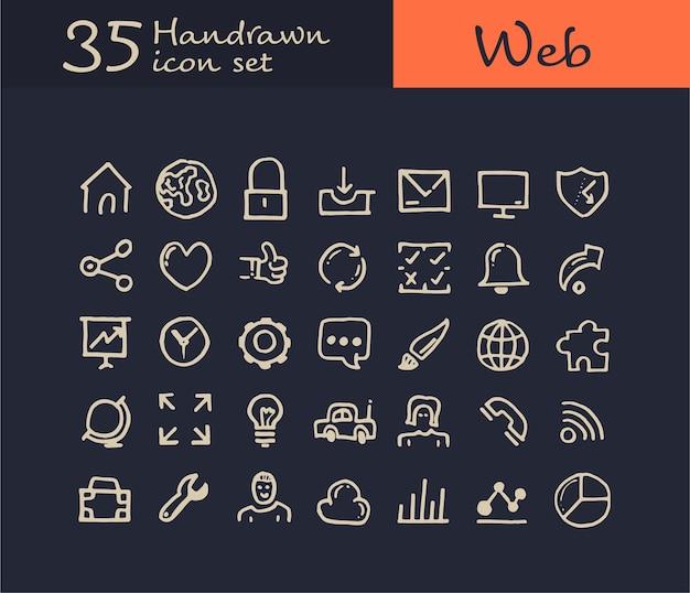 35 icône web dessiné main