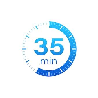 Les 35 minutes, icône de vecteur de chronomètre