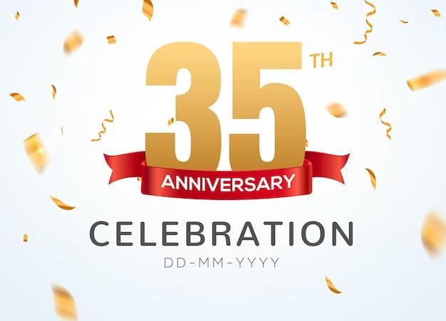 35 numéros d'or d'anniversaire avec des confettis dorés. modèle de fête d'événement de célébration du 35e anniversaire.
