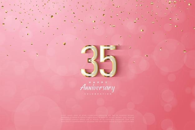 35e anniversaire avec bordure dorée luxueuse