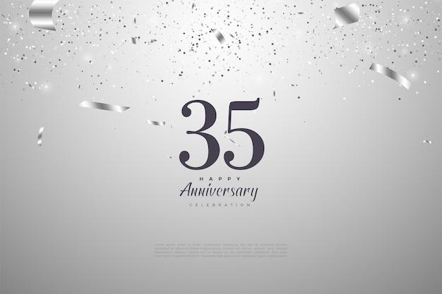 35e anniversaire avec des chiffres sur fond argenté