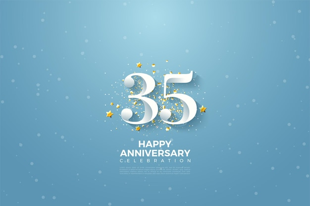 35e anniversaire avec des chiffres sur fond bleu ciel