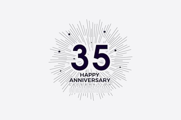 35e anniversaire avec des chiffres en noir sur blanc