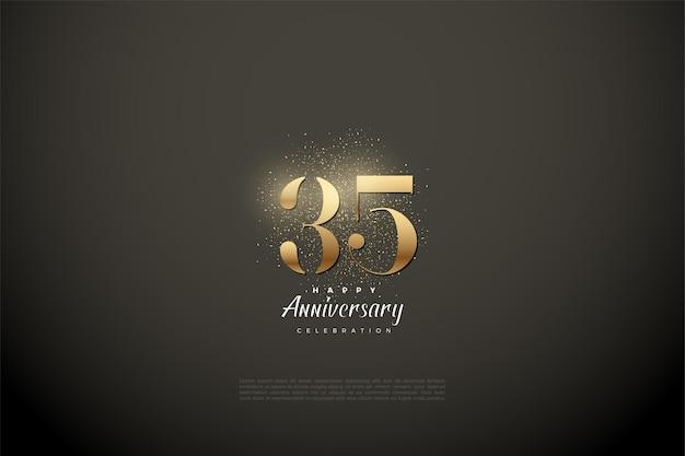 35e anniversaire avec des chiffres en or brillant