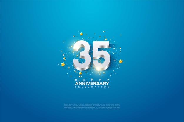 35e anniversaire avec des chiffres plaqués argent