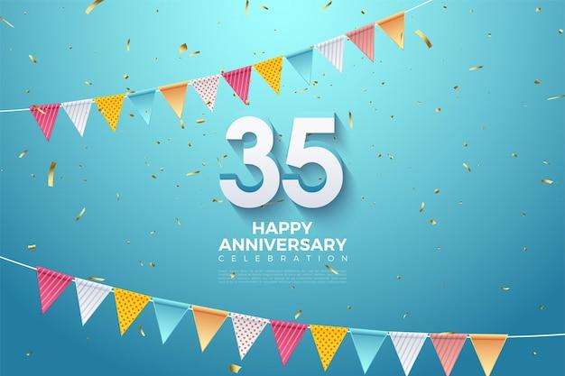 35e anniversaire avec des chiffres sous le drapeau