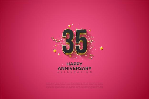35e anniversaire avec de luxueux chiffres plaqués or