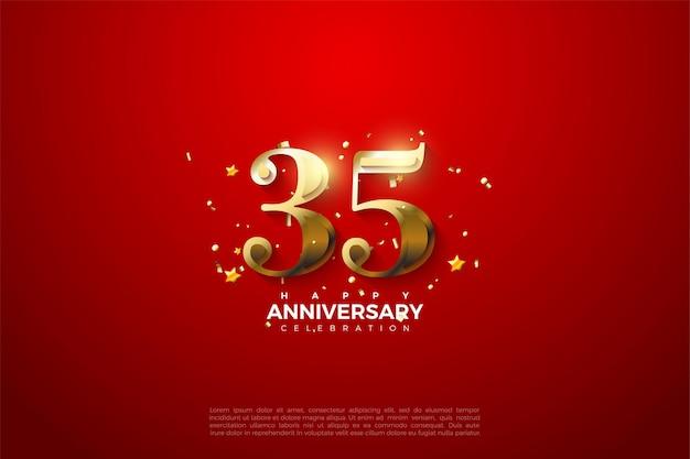 35e anniversaire avec des nombres d'or
