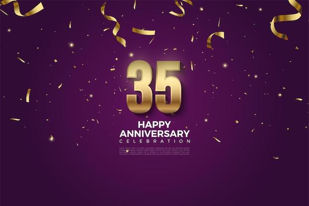 35e anniversaire avec nombres et ruban d'or