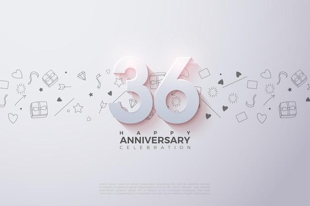 36e anniversaire avec des chiffres 3d ombrés doux
