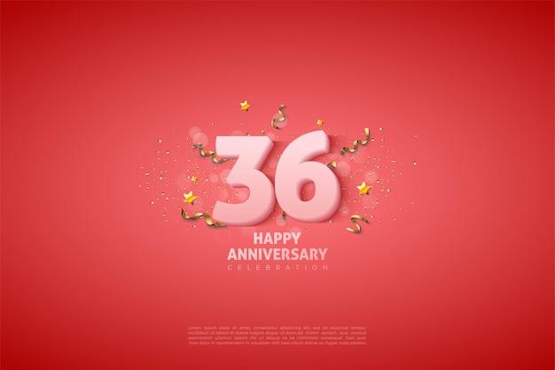 36e anniversaire avec des chiffres blancs doux