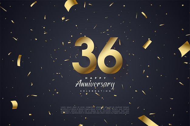 36e anniversaire avec des chiffres dans l'espace