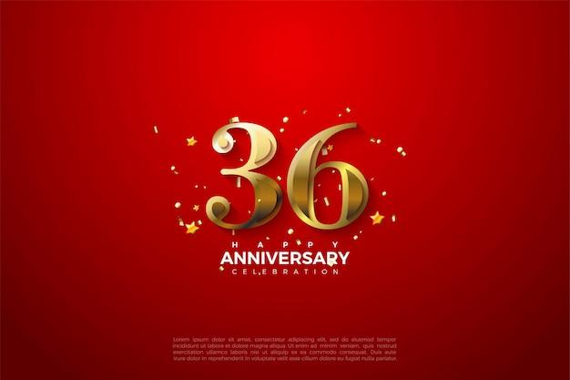 36e anniversaire avec des chiffres dorés sur un fond rouge propre