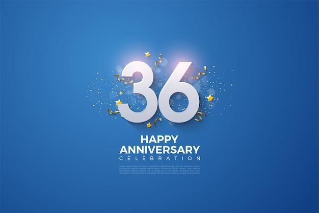 36e anniversaire avec des chiffres et des étincelles d'or