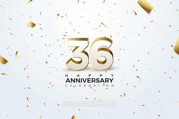 36e anniversaire avec chiffres et feuille d'or