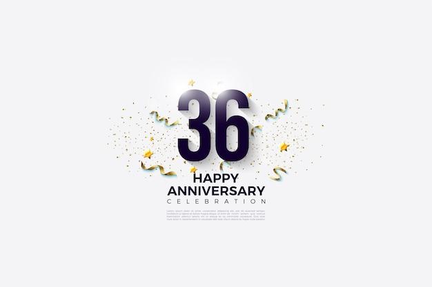36e anniversaire avec des chiffres et un fond blanc brillant