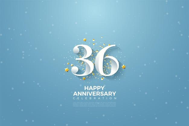 36e anniversaire avec des chiffres sur fond de ciel bleu