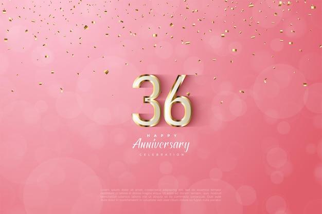 36e anniversaire avec des chiffres luxueux bordés d'or