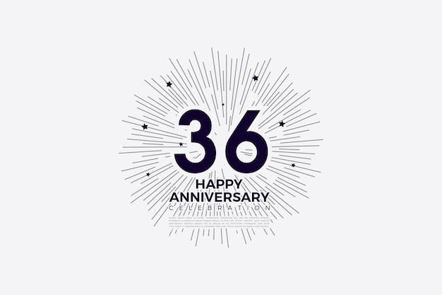 36e anniversaire avec des chiffres noirs sur blancs