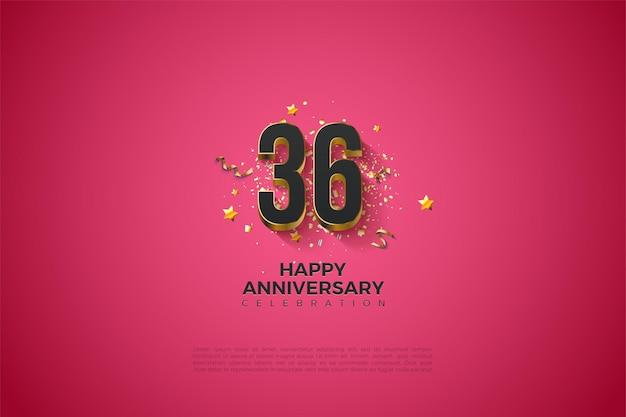 36e anniversaire avec des chiffres plaqués or massif