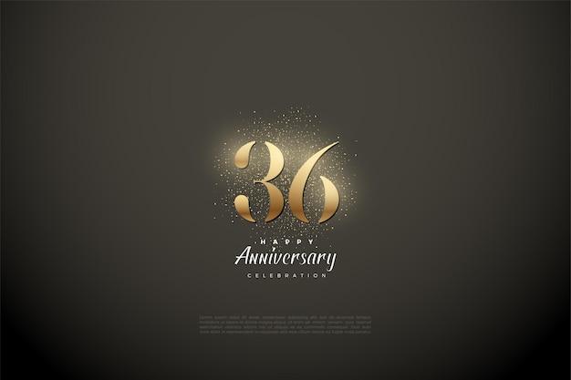 36e anniversaire avec des chiffres et des points d'or