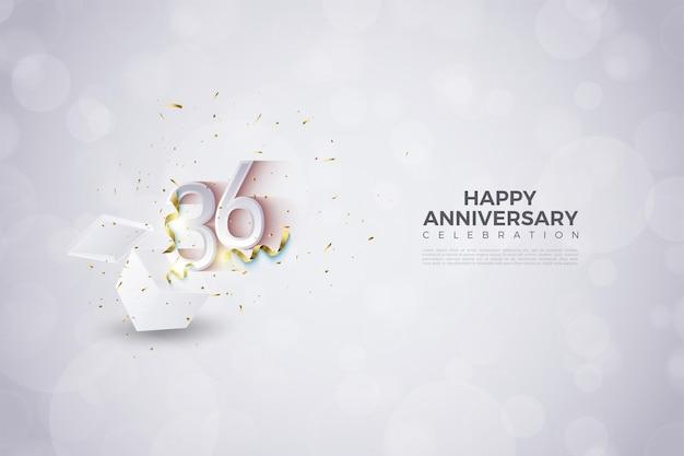 36e anniversaire avec des chiffres qui s'affichent