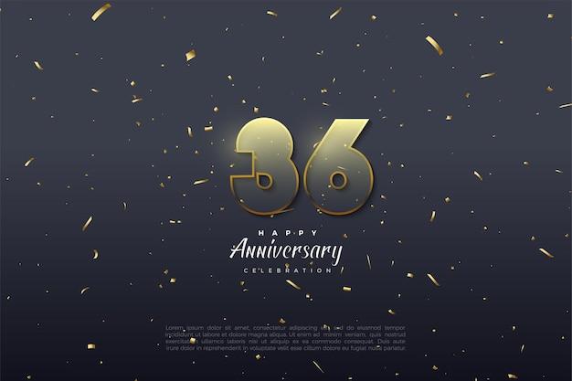 36e anniversaire avec des chiffres transparents