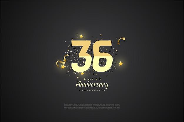 36e anniversaire avec numéros gradués et décoration en étoile