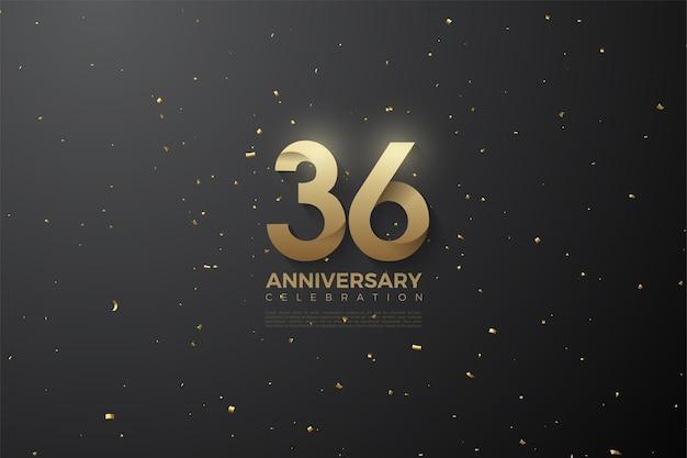 36e anniversaire avec des numéros à motifs