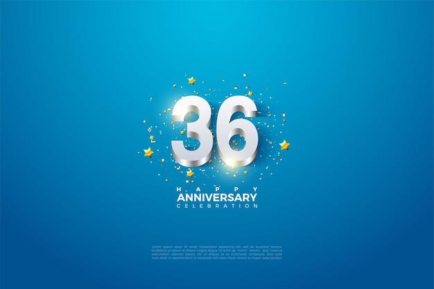 36e anniversaire avec revêtement en chiffres argentés