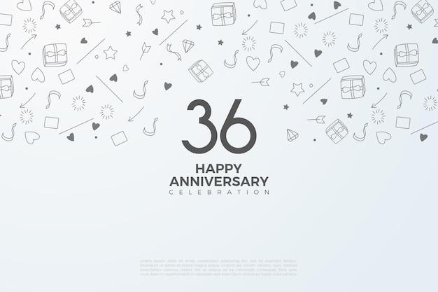 36e anniversaire avec vignette en arrière-plan