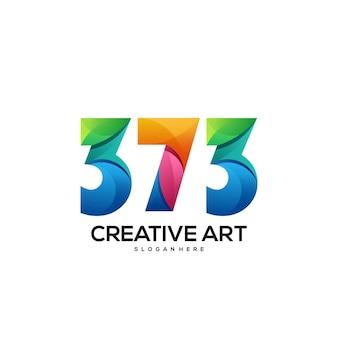 373 numéro logo dégradé coloré