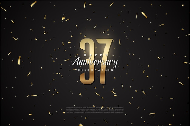 37e anniversaire avec des chiffres et des bits d'or