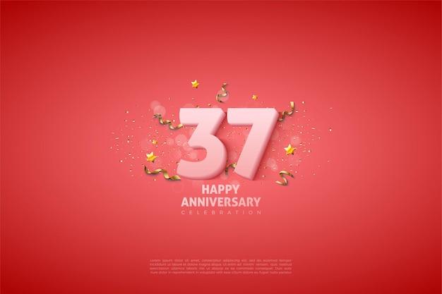 37e anniversaire avec des chiffres blancs doux