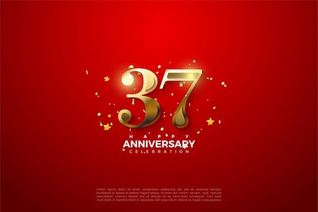 37e anniversaire avec fond rouge et chiffres or