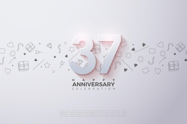 37e anniversaire avec des numéros 3d