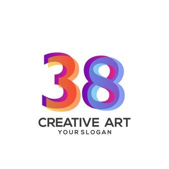 38 nombres logo design dégradé coloré