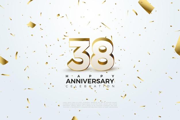 38e anniversaire avec chiffres épars et feuille d'or