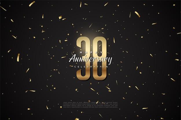 38e anniversaire avec un design en chiffres dorés plats