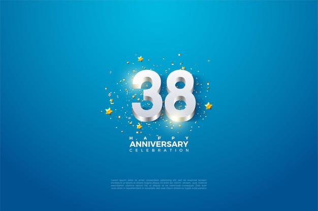 38e anniversaire avec doublure en chiffres argentés
