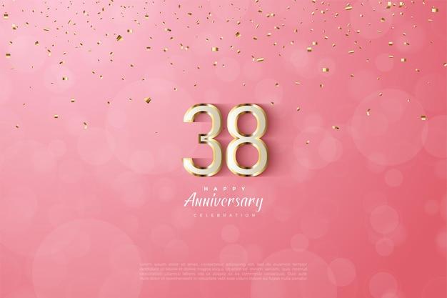 38e anniversaire avec une luxueuse garniture dorée