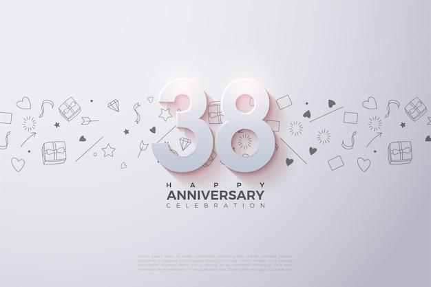 38e anniversaire avec des nombres 3d