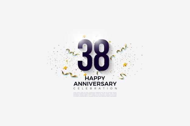 38e anniversaire avec numéro de design plat et festivités