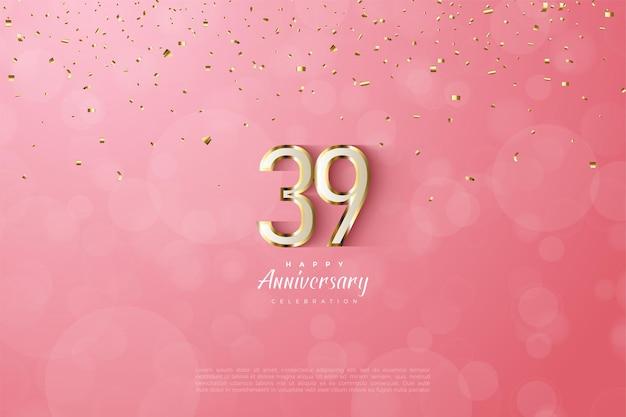 39e anniversaire avec bordure luxueuse en chiffres dorés